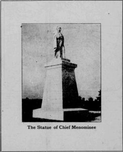 The monument to Chief Menominee. Courtesy of Hoosier State Chronicles.