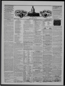 The front page of the Indiana State Sentinel, December 25, 1845. Courtesy of Hoosier State Chronicles.