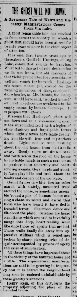 """The Ghost Will Not Down,"" Marshall County Independent, 1 August 1895"