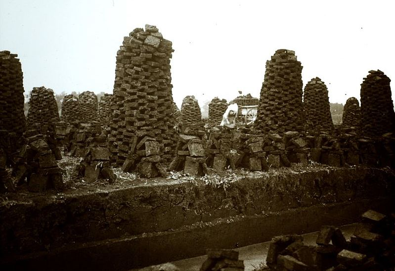 Peat stacks and cutting Yorkshire 1905