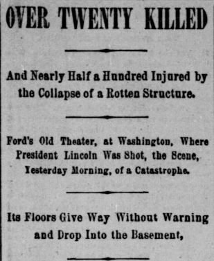 fords theater collapse - indianapolis journal june 10 1893