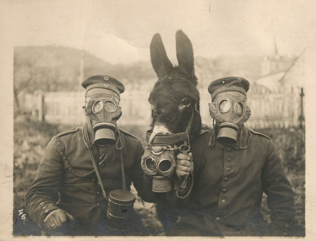 german soldiers in gas masks
