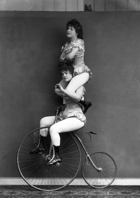 two women on cycle