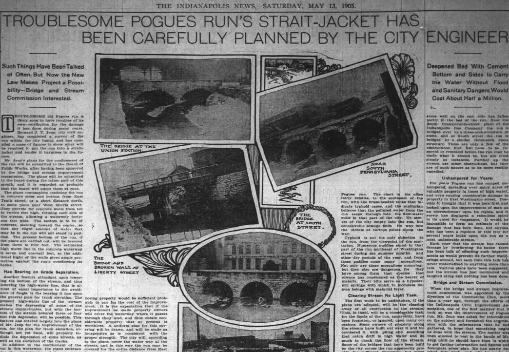 Pogues Run Bridges - Indianapolis News May 13 1905