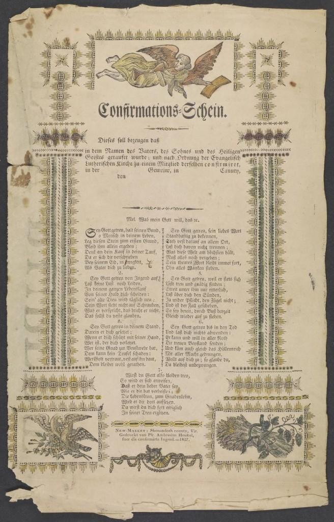 Confirmations-Schein-Amrose Henkel, 1827