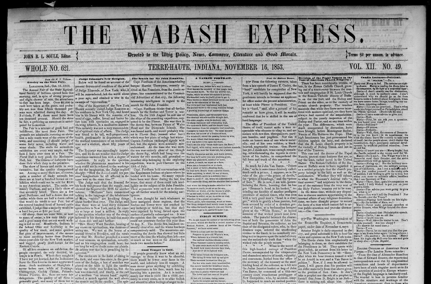 Wabash Express 11-16-1853