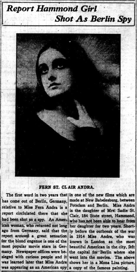 Fern Andra - LC Times, November 8, 1918