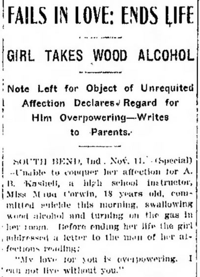 Wood Alcohol -- Indianapolis Star, November 12, 1910