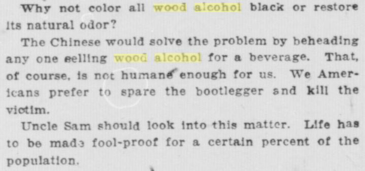 Wood Alcohol -- South Bend News-Times, August 29, 1922