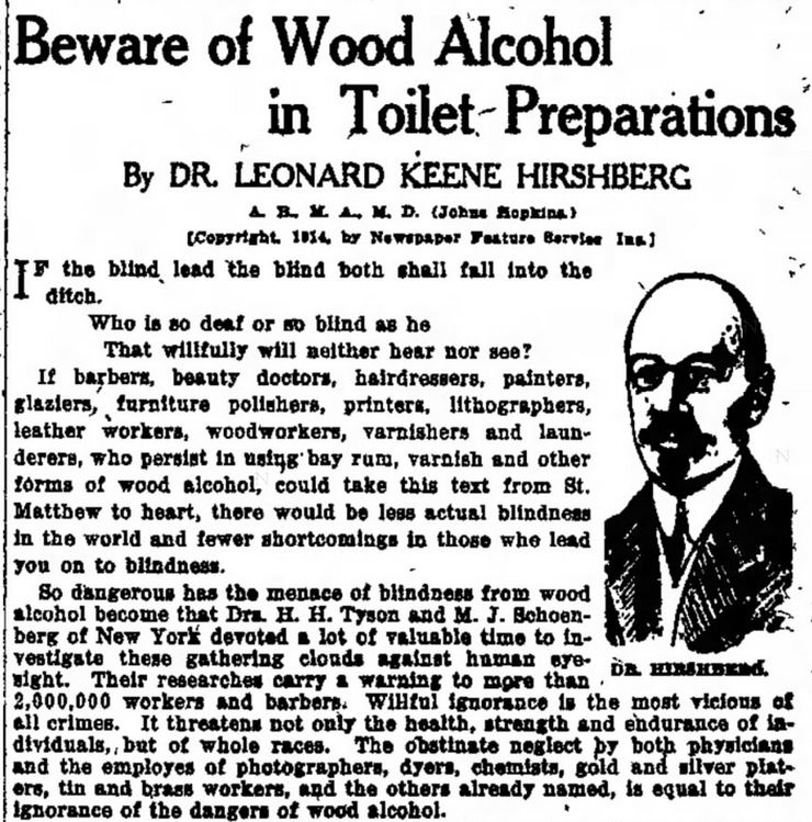 Wood alcohol -- Indianapolis Star, October 19, 1914