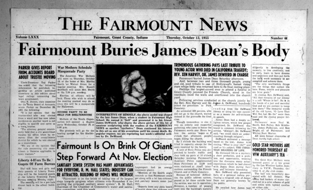 James Dean Death -- Fairmount News, October 13, 1955