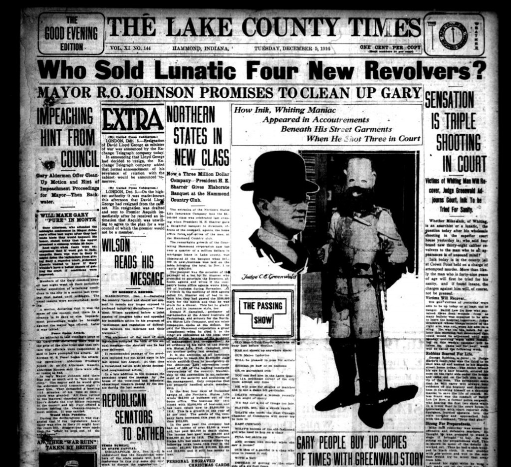 Mike Inik -- Lake County Times, December 5, 1916 (1)