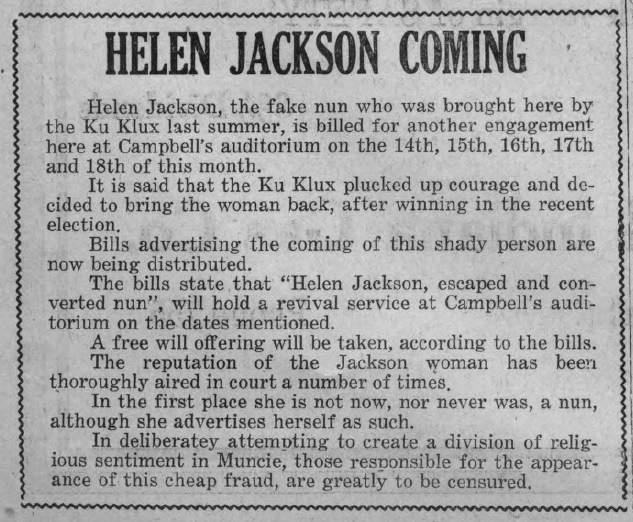 Helen Jackson -- November 10, 1922