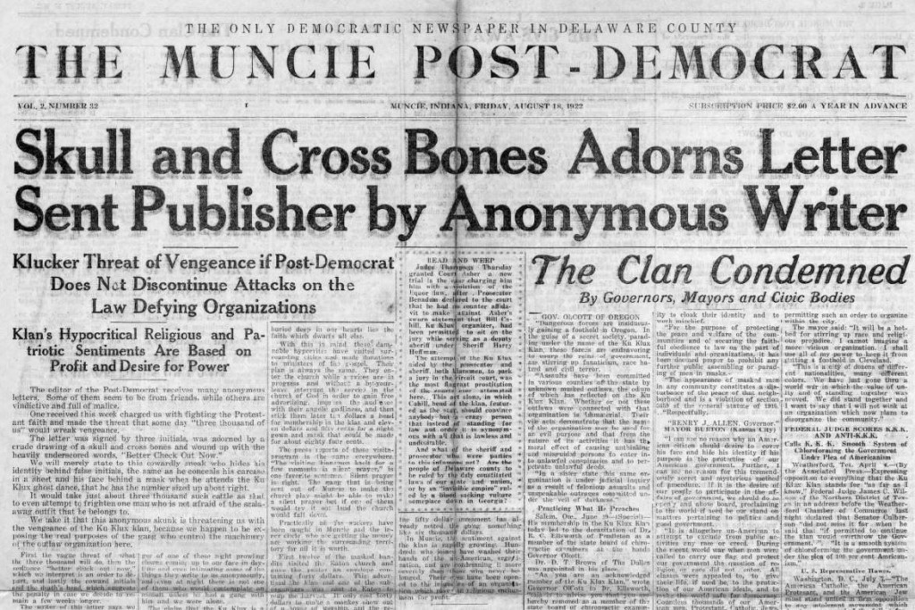 Muncie Post Democrat, August 18, 1922