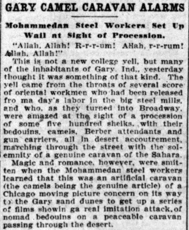Gary Camel Caravan -- Chicago Record-Herald, June 14, 1910