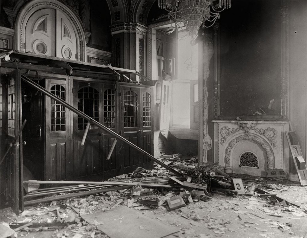 Aftermath of bombing of Senate Reception Room, July 1915