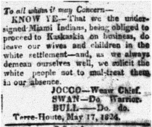 Western Register and Terre Haute Advertiser, May 26, 1824, page 2.