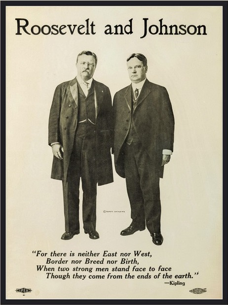 Theodore Roosevelt and his Progressive Party running mate, Hiram Johnson, 1912. Courtesy of the New York Times.