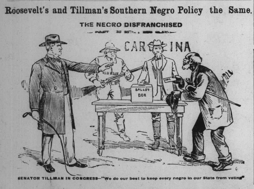An editorial in the Indianapolis Recorder, August 24, 1912. It linked Roosevelt's alienation of black voters with the segregationist policies of Senator Benjamin Tillman. Courtesy of Hoosier State Chronicles.