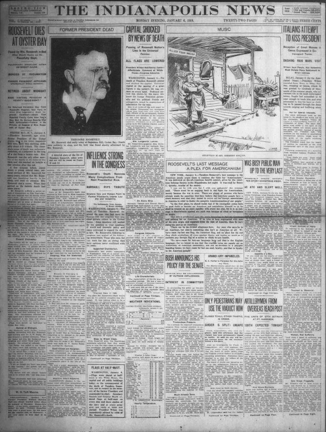 The front page of the Indianapolis News on the day Theodore Roosevelt died. Courtesy of Hoosier State Chronicles.