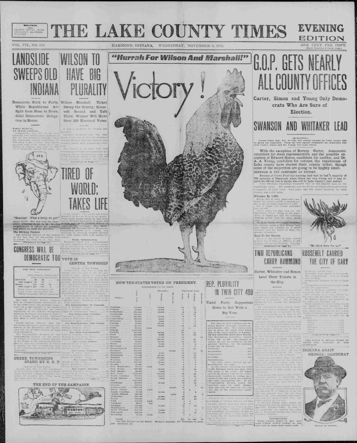 The front page of the Lake County Times, November 6, 1912. Democratic candidate Woodrow Wilson and his running mate, Indiana Governor Thomas Marshall, won the election in an electoral landslide. Courtesy of Hoosier State Chronicles.