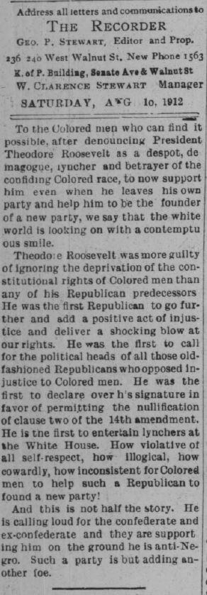 "A scathing editorial of Roosevelt's ""southern strategy"" by the Indianapolis Recorder. Courtesy of Hoosier State Chronicles."