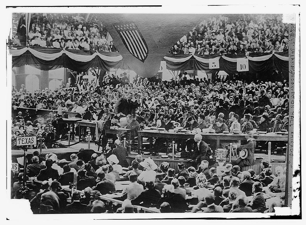 Theodore Roosevelt speaking to Progressive Party delegates at their national convention, August 1912. Courtesy of the Library of Congress.