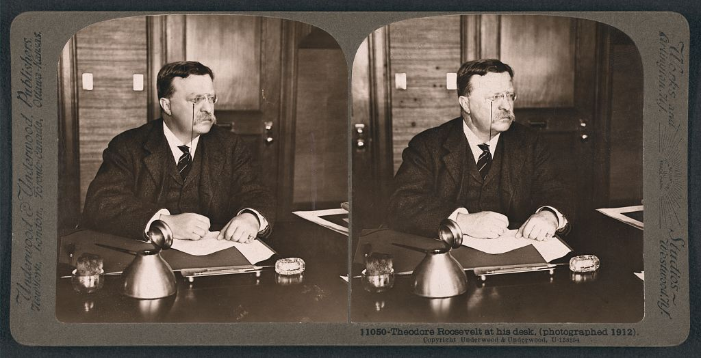 Theodore Roosevelt at his desk, 1912. Courtesy of the Library of Congress.