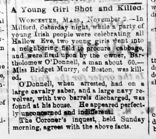 """A Young Girl Shot and Killed,"" Daily Wabash Express, November 3, 1868, 1, Hoosier State Chronicles."