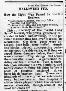 """Halloween Fun,"" Terre Haute Evening Gazette, November 7, 1872, 3, Hoosier State Chronicles."