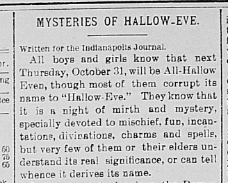 """Mysteries of Hallow-Eve,"" Terre Haute Express, October 31, 1889, 2 , Hoosier State Chronicles."