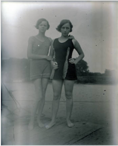 """Frances Owen and Marium Mueller Dressed in Bathing Suits, New Harmony, IN,"" glass plate negative, 1925, University of Southern Indiana, accessed Indiana Memory https://digital.library.in.gov/Record/ISL_p181901coll18-2638"