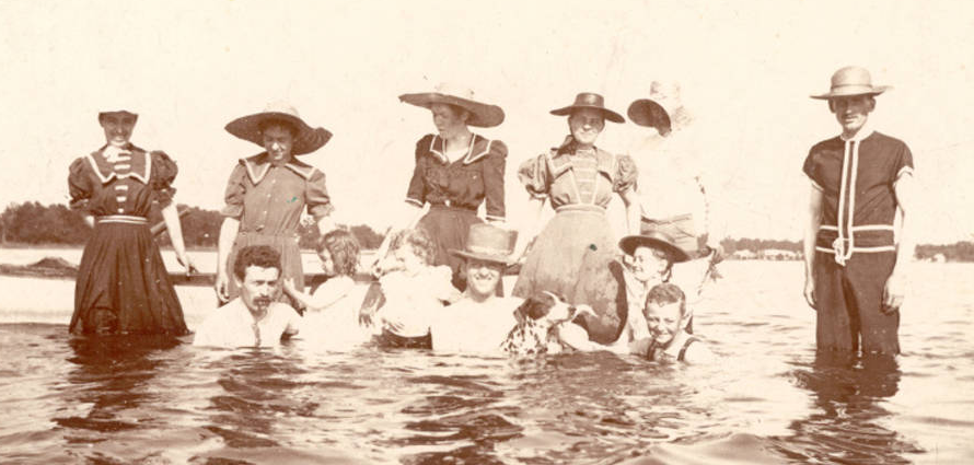 """Bathers at Bass Lake,"" photograph, circa 1900, Starke County Historical Society, accessed Indiana Memory, http://cdm16066.contentdm.oclc.org/cdm/ref/collection/p181901coll014/id/41"
