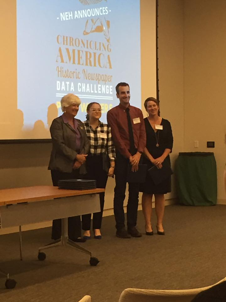 "IUPUI librarians Caitlyn Pollack, Ted Polley, and Kristi Palmer accepting their NDNP Data Challenge Award for their work on ""Chronicling Hoosier."" Courtesy of Justin Clark."