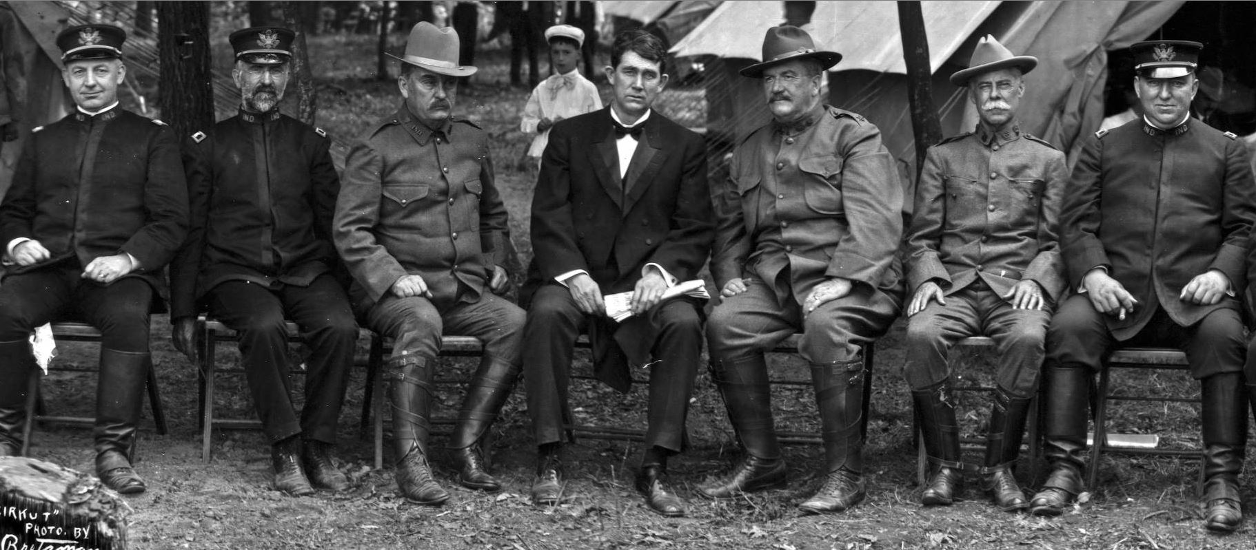 Governor J. Frank Hanly and military officers at Fort Benjamin Harrison Camp of Instruction, 1906. Courtesy of Indiana Memory.