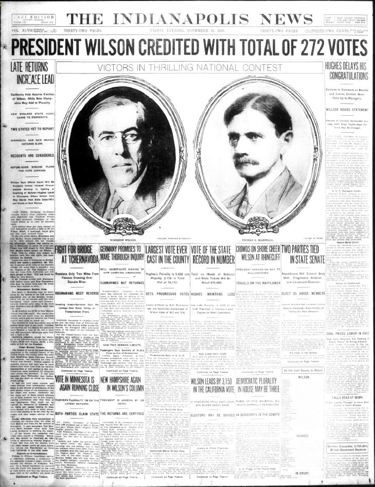 Indianapolis News, November 10, 1916, Courtesy of Hoosier State Chronicles.