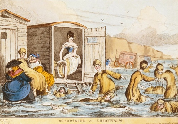 """Mermaids at Brighton"" by William Heath (1795 - 1840), c. 1829, in Emily Spivack, ""How Bathing Suits Went From Two-pieces to Long Gowns and Back, Smithosonian Magazine, accessed www.smithsonianmag.com"
