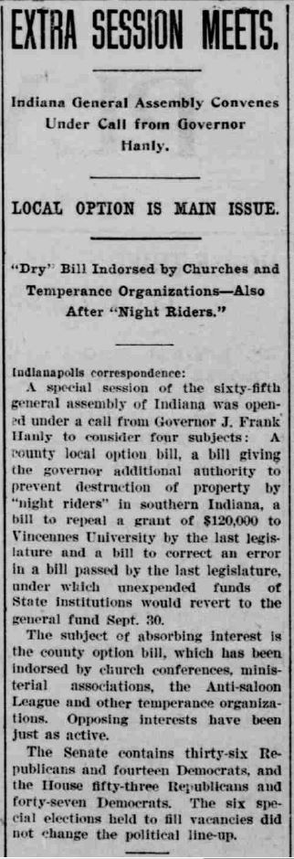 Plymouth Tribune, September 24, 1908. Courtesy of Hoosier State Chronicles.