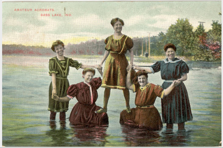 """Amateur Acrobats Performing on Bass Lake,"" postcard, circa 1910, Starke County Historical Society, accessed Indiana Memory, https://digital.library.in.gov/Record/ISL_p181901coll014-59"