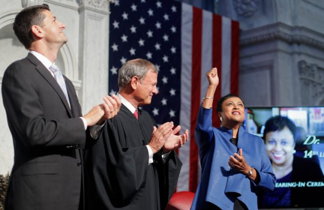 Dr. Carla Hayden, the 14th Librarian of Congress, during her confirmation ceremony. Courtesy of District Dispatch.