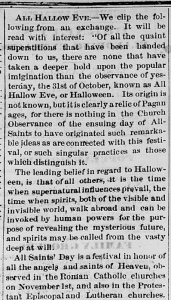 """All Hallow Eve,"" Terre Haute Daily Gazette, November 1, 1870, 4, Hoosier State Chronicles"