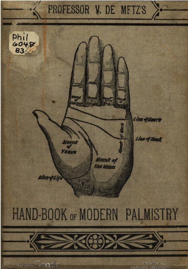 V. de Metz, Handbook of Modern Palmistry (New York: Brentano Publishing, 1883, accessed babel.hathitrust.org