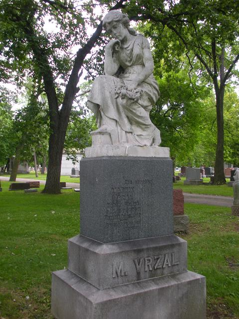 Image: Grave of Martin Vrzal, Bohemian National Cemetery, Chicago, Find-A-Grave.