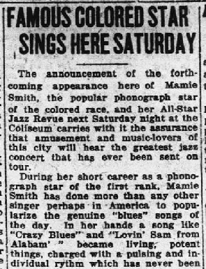 """Famous Colored Star Sings Here Saturday,"" Richmond Palladium Sun-Telegram, April 18, 1921. 9"