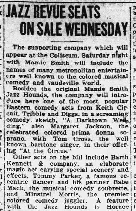"Jazz Revue Seats On Sale Wednesday,"" Richmond Palladium Sun-Telegram, April 18, 1921, 4."