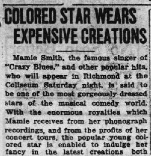 """Colored Star Wears Exprensive Creations,"" Richmond Palladium Sun-Telegram, April 22, 1921, 11."