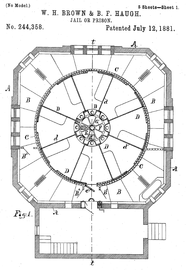 A birds-eye view of the rotary jail from its original patent. Courtesy of Google Books.