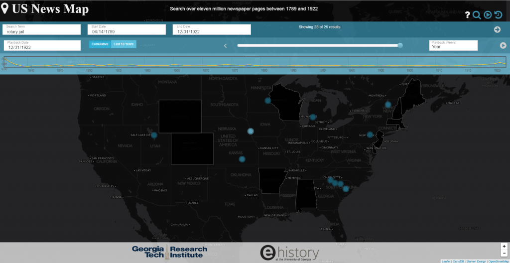 "A search for ""rotary jail"" in US News Map. Courtesy of US News Map."