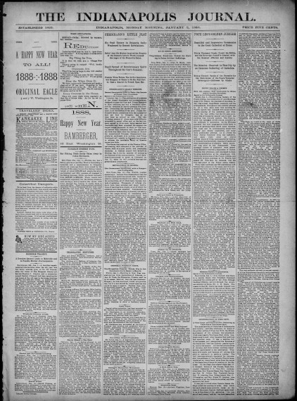 Indianapolis Journal, January 2, 1888. From Hoosier State Chronicles.