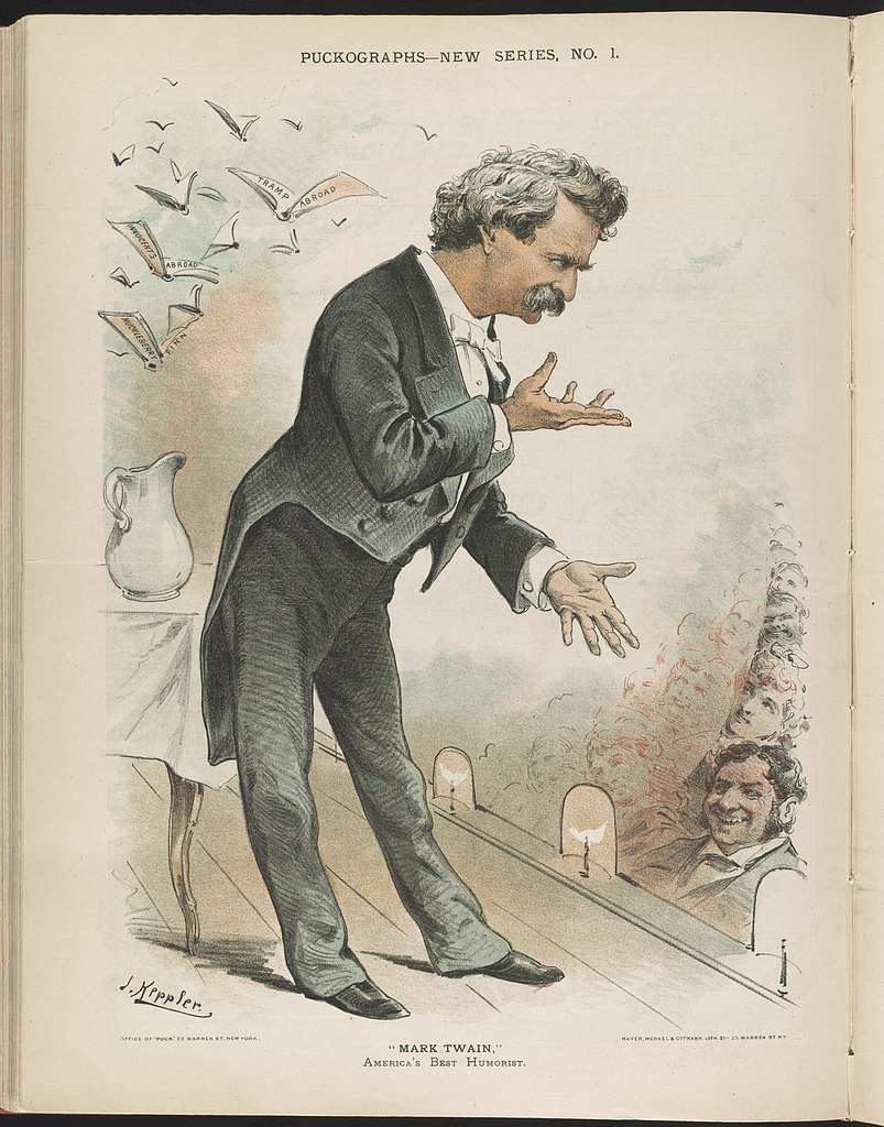 """America's Best Humorist,"" Mark Twain. Lithograph by Joseph F. Keppler, 1885. Library of Congress."